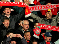 Liverpool fans singing You'll Never Walk Alone