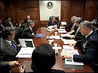 President Bush and aides during the Iraq war in 2003