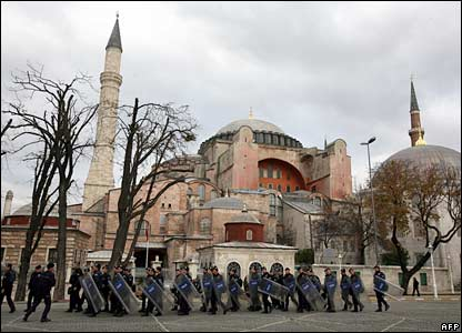 Turkish riot police stand in front of the Hagia Sophia museum