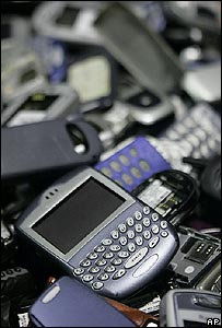 Phones at a recycling centre (Image: AP)