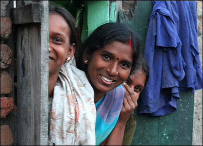Dalit girls peer out of their window in Nagpur