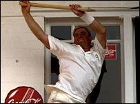 Warne dances with a stump at Trent Bridge in 1997