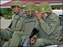 Heavily armed Fijian troops