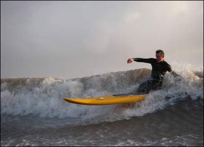 Mike from Whitmore Bay Surf Life Saving Club training on a rescue board at Barry Island, as sent by Ross