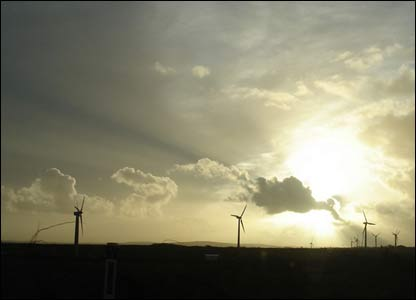 Winter sunset at the Wind turbines near Gilfach Goch, sent by Claire Lamerton from Llantwit Major