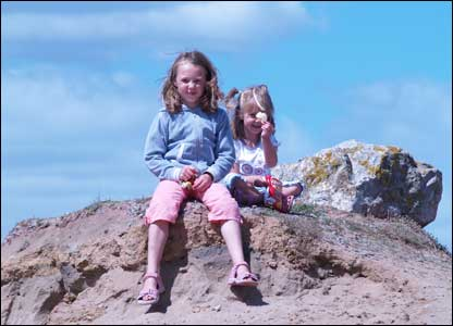 Tony Monger's grandchildren Sophie and Olivia at Ogmore