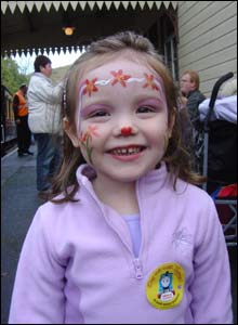 Megan had her face painted at the Gwili Steam Railway in Carmarthen, sent by mum Sarah