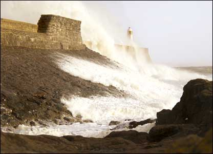Porthcawl Lighthouse in recent storms (Brian Dimmock, Bridgend)