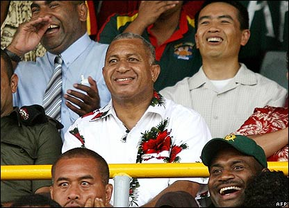 Cmdr Frank Bainimarama at a rugby match in Suva on 1 December 2006