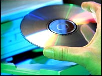 CD being put into computer