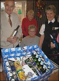 Pensioners with the alcohol hampers