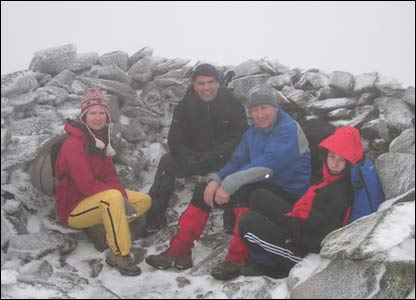 Four friends together on Carnedd Llewelyn - Orsolya, John, Keith and Ryan