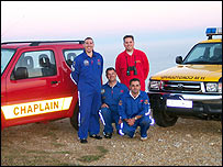 Members of the coastguard and Beachy Head Chaplaincy Team