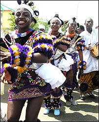 Colourful dancers, Nigeria