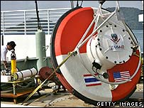 Tsunami buoy, for measuring pressure in the ocean