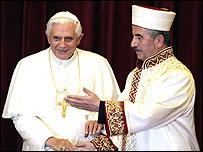 Pope Benedict XVI (left) with Ali Bardakoglu, secular Turkey's top religious official