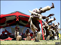 Zulu dancers perform on World Aids Day in Nelspruit, South Africa