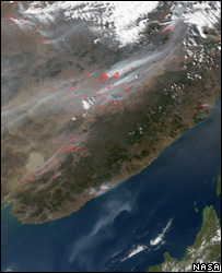 Satellite image of wildfires across eastern Russia (Image: Nasa)
