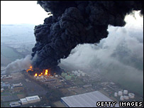 Buncefield fuel tanks on fire