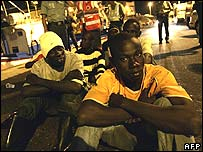 Young illegal immigrants on Tenerife dockside
