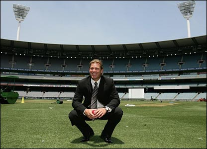 Warne during his retirement media conference at the MCG
