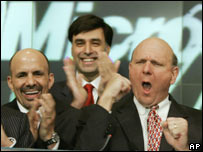 Steve Ballmer (right) opening the Nasdaq stock market on Vista's launch day