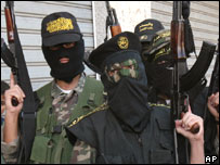 Islamic Jihad militants at a news conference