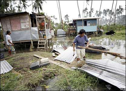 Damaged houses in the Sarangani village, Quezon province