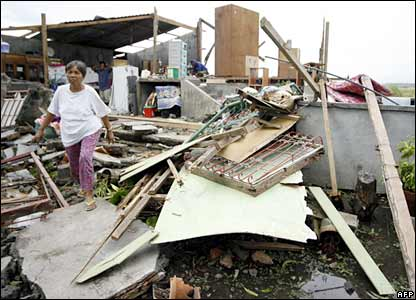 A destroyed house in the Sarangani village, Quezon province