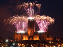 Fireworks light up the skyline and Liverpool Cathedral
