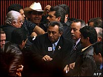 Mexican deputies brawl in Congress an hour before Felipe Calderon's inauguration