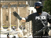 Armed police at scene of Amman shooting