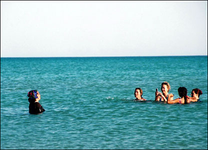 People enjoying the Caspian sea