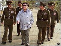 North Korea leader Kim Jong-il, centre, with his military generals