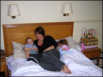 Heidi Brazier (C) with children Alex and Megan