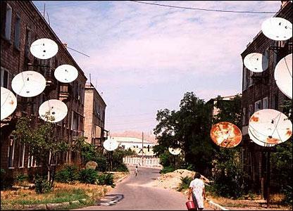 Satellite dishes in Turkmen capital