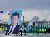 A poster of Mr Niyazov is erected as part of celebrations marking the 15th anniversary of independence from the Soviet Union on 27 October, 2006