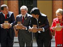 Venezuela's President Chavez,  Brazil's President Lula,  Bolivia's President Morales and Chile's President Bachelet