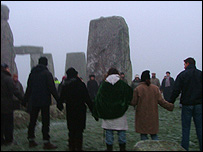 Around 60 people turned up at Stonehenge on Thursday