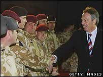 Prime Minister Tony Blair meets soldiers in Iraq