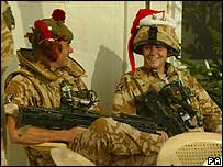 Black Watch troops wearing Christmas hats in Iraq