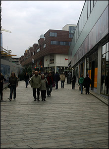 A sloping street in Almere town centre