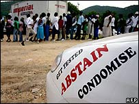 South Africans queue to attend a World Aids Day event in Nelspruit