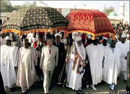 Prince Charles arriving at a durbar in Kano, northern Nigeria