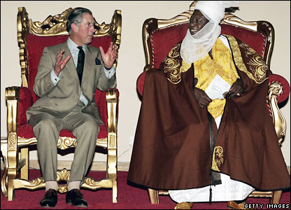 Prince Charles talking to the Emir of Zazzau in northern Nigeria