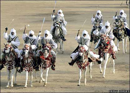 Horsemen at a durbar in Kano, northern Nigeria