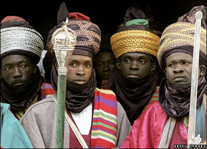 Men in traditional dress at the Emir's palace in Kano, northern Nigeria