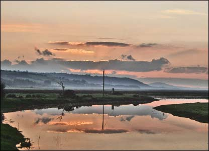 Autumn sunset over Penclawdd, North Gower, sent by Jennifer Cloke