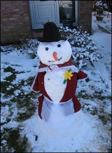 Cerys in Neath used the snow to celebrate St David's Day in unusual style