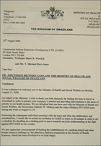 Swazi Health Ministry letter to CARD